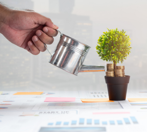 Man watering plant with coins on top of business spreadsheets