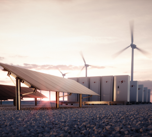 battery storage by solar panels and wind turbines